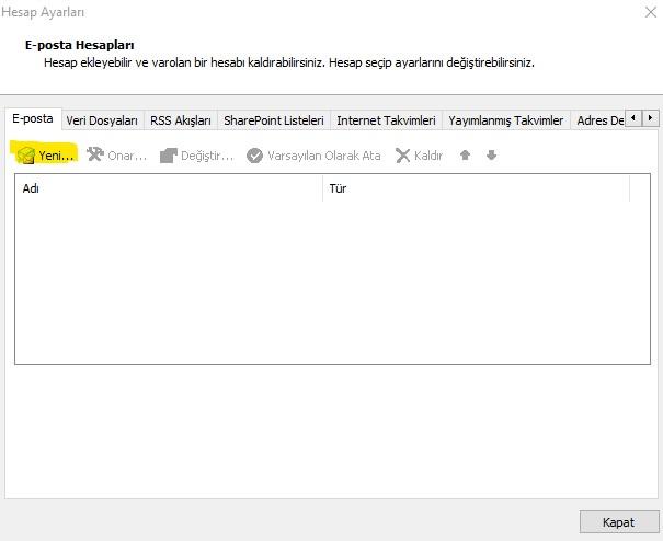 Yeni E-posta hesabı ekle